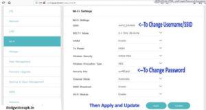 change Jiofi username and password