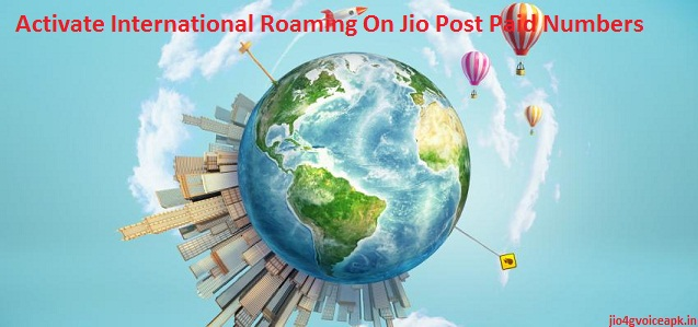 activate international roaming on jio postpaid number